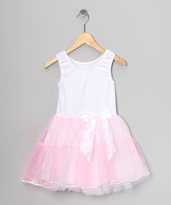White & Pink Velvet Tutu Dress - Girls