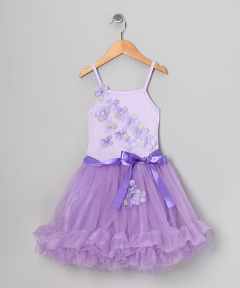 Lilac Flower Ruffle Dress - Toddler & Girls