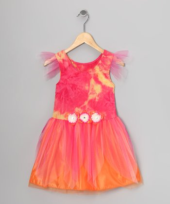 Fuchsia & Orange Tie-Dye Dress - Toddler & Girls