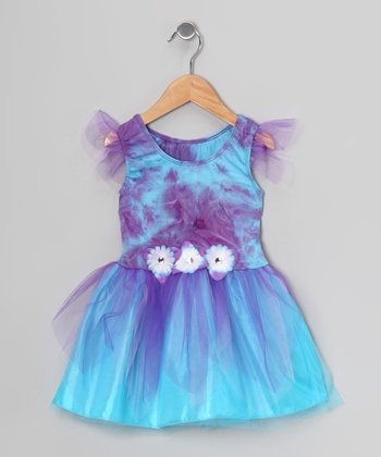 Purple & Turquoise Tie-Dye Dress - Toddler & Girls
