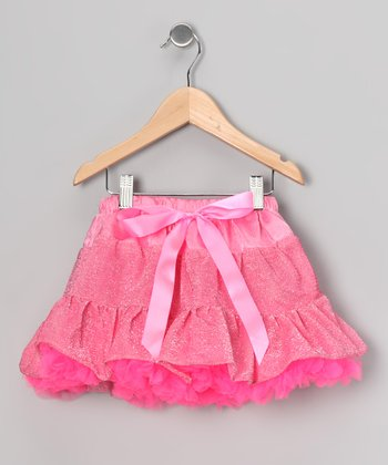 Hot Pink Sequin Ruffle Skirt - Girls