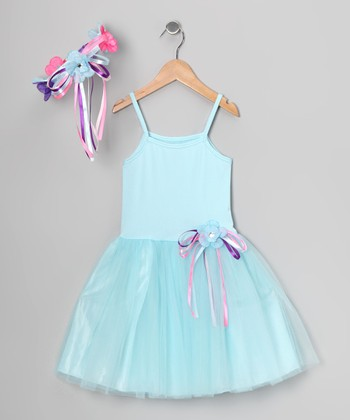 Light Blue Ribbon Dress & Flower Halo - Toddler & Girls