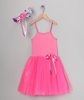 Pink Ribbon Dress & Flower Halo - Toddler & Girls