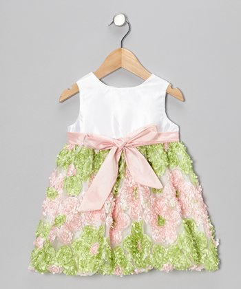 Pink & Green Flower Patch Bow Dress - Infant, Toddler & Girls