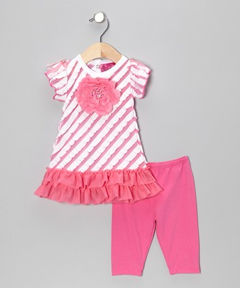 Pink Stripe Ruffle Flower Tunic & Leggings - Infant