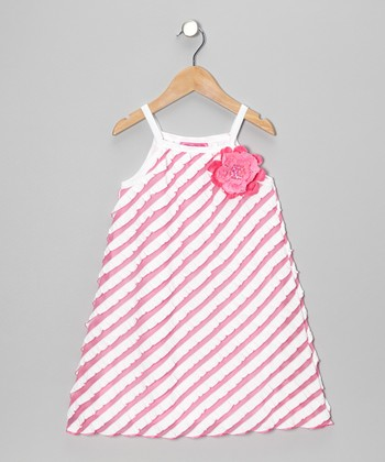 Pink Stripe Flower Dress - Toddler & Girls