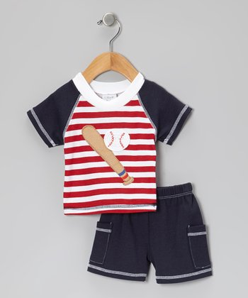 Red & Blue Stripe Baseball Top & Shorts - Infant