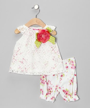 White & Pink Flower Bow Dress & Bloomers - Infant & Toddler