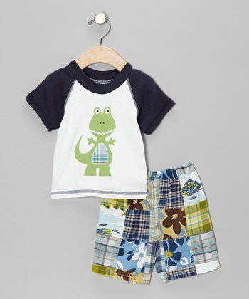 Navy & Green Dinosaur Tee & Shorts - Infant & Toddler