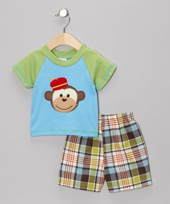 Blue & Green Monkey Tee & Shorts - Infant & Toddler