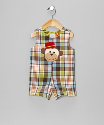 Brown Plaid Monkey Romper - Infant & Toddler
