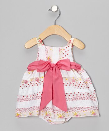 Pink Flower Bow Bubble Dress - Infant