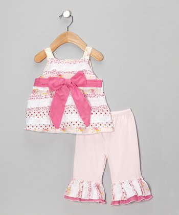 Pink Polka Dot Bow Ruffle Dress & Capri Pants - Infant