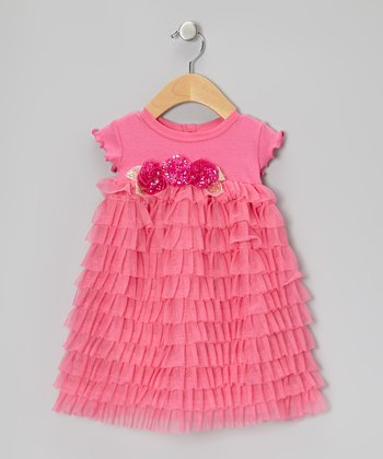 Pink Rhinestone Tulle Tier Dress - Infant