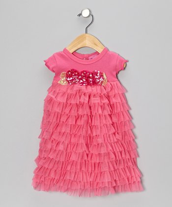 Pink Ruffle Sequin Flower Dress - Infant & Toddler