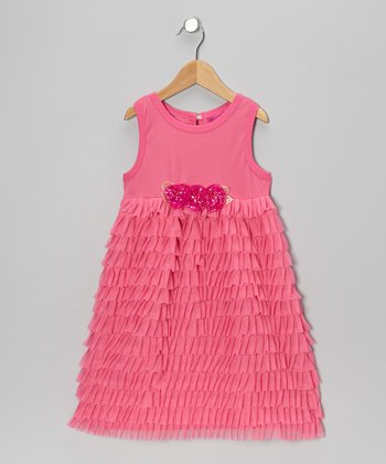Pink Ruffle Sequin Flower A-Line Dress - Girls