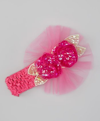Pink Ruffle Sequin Flower Headband