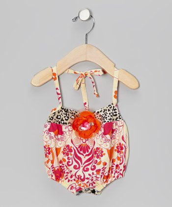Pink & Orange Flower Spread Romper - Infant