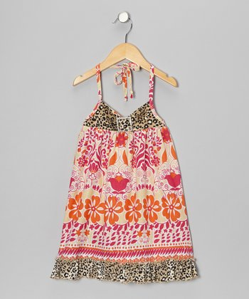 Pink & Tan Flower Blend Halter Dress - Toddler & Girls
