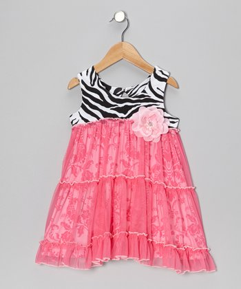 Pink Zebra Overlay Flower Dress - Toddler & Girls