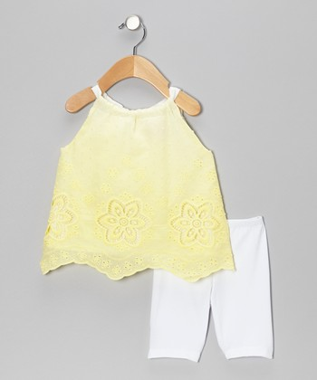 White & Yellow Flower Tunic & Leggings - Infant & Toddler