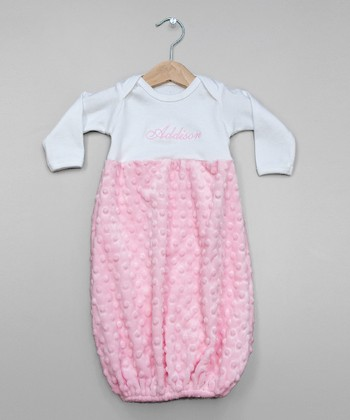 White & Pink Snuggle Personalized Gown - Infant