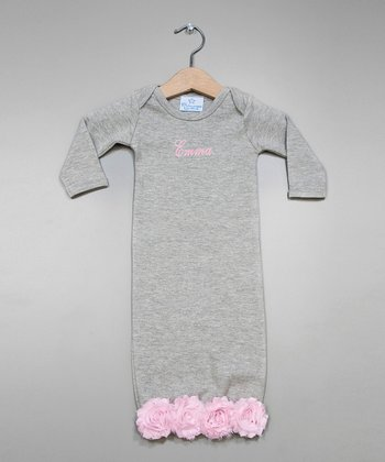 Gray & Pink Bella Rose Personalized Gown - Infant