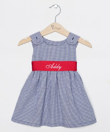 Navy & Red Gingham Personalized Jumper - Infant, Toddler & Girls