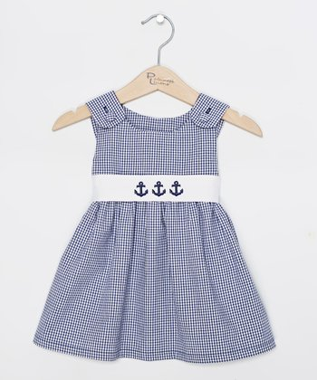 Navy Gingham Anchor Jumper - Infant, Toddler & Girls