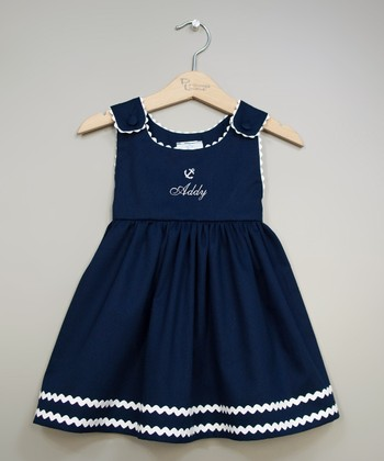 Navy & White Anchor Personalized Jumper - Infant, Toddler & Girls
