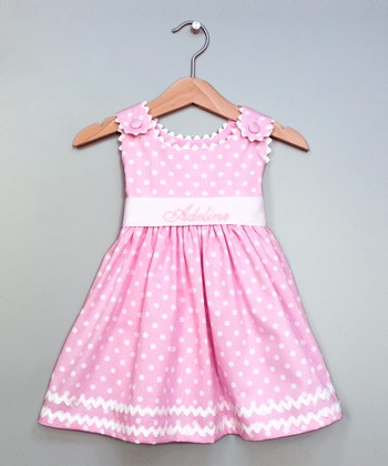 Pink Polka Dot Personalized Sash Dress - Infant, Toddler & Girls