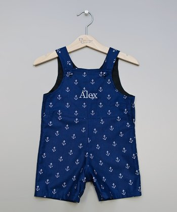 Navy Anchors Up Personalized Shortalls - Infant & Toddler