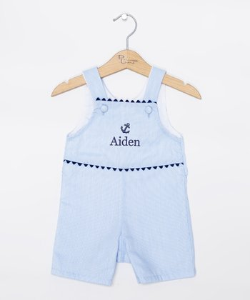 Blue & Navy Anchor Personalized Shortalls - Infant & Toddler