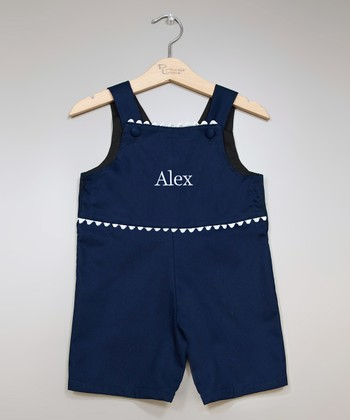 Navy & White Personalized Shortalls - Infant & Toddler