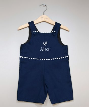 Navy & White Anchor Personalized Shortalls - Infant & Toddler