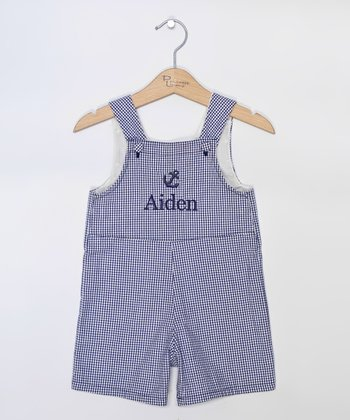 Navy Gingham Anchor Personalized Shortalls - Infant & Toddler