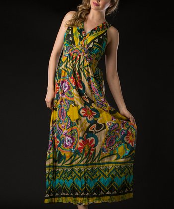 Yellow Garden Surplice Maxi Dress
