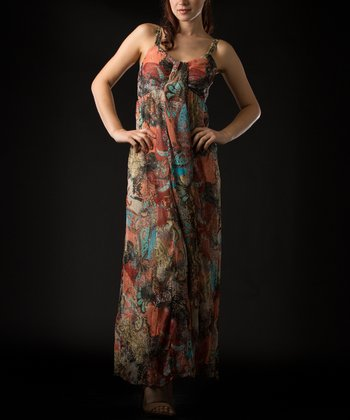 Natural Abstract Maxi Dress