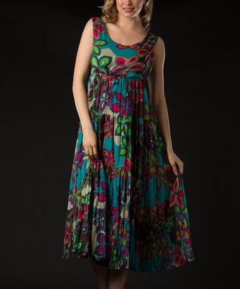 Brown & Blue Floral Empire-Waist Dress - Women