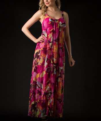 Pink & Yellow Floral Maxi Dress - Women