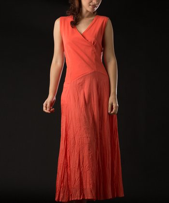 Mango Crinkle Surplice Maxi Dress