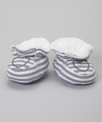 Gray & White Stripe Heart Booties