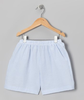 Blue & White Stripe Shorts - Toddler