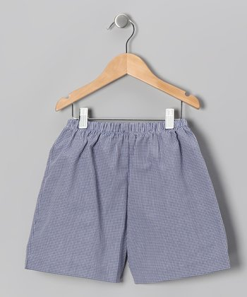 Navy & White Checkerboard Shorts - Toddler