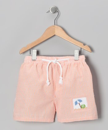 Orange Beach Smocked Cotton Swim Trunks - Infant