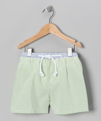 Green & White Cotton Swim Trunks - Boys