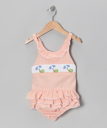 Orange & White Beach Smocked Sunsuit - Infant
