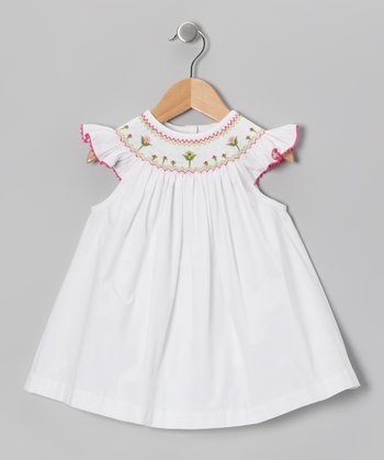 White Floral Smocked Top - Toddler & Girls