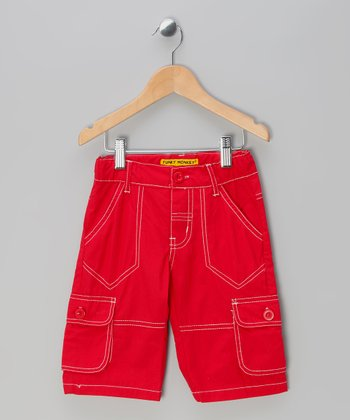 Red Cargo Shorts - Toddler & Boys