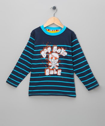 Navy Stripe 'Bad Boys Rule' Tee - Toddler & Boys